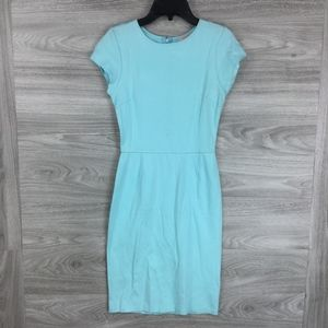 Love...Ady Blue Solid Cap Sleeve Sheath Dress